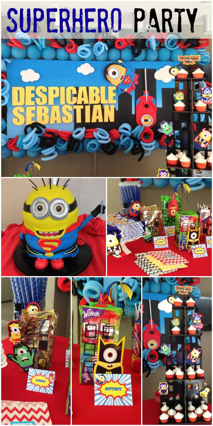 Loving this Superhero Despicable Me Minion Party! See more party ideas at CatchMyParty.com.