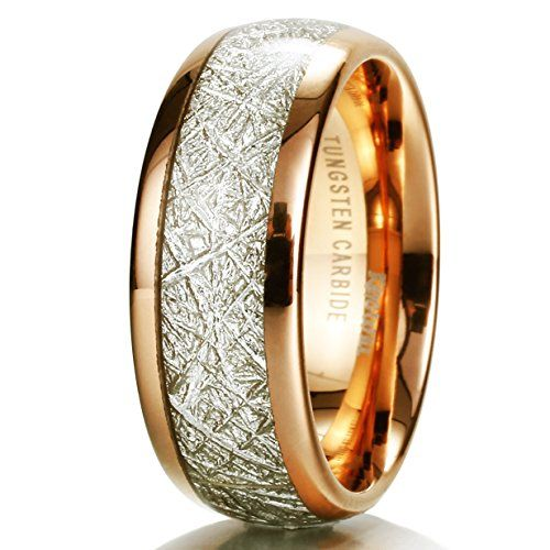 King Will Mens 8mm Domed 14k Gold Tungsten Carbide Ring Meteorite Inlay Wedding Band Size5-15