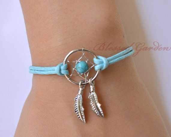 dream catcher bracelet, turquoise bracelet,feather bracelet, turquoise bead,friendship bracelet,dreamcatcher bracelet,blessedgarden
