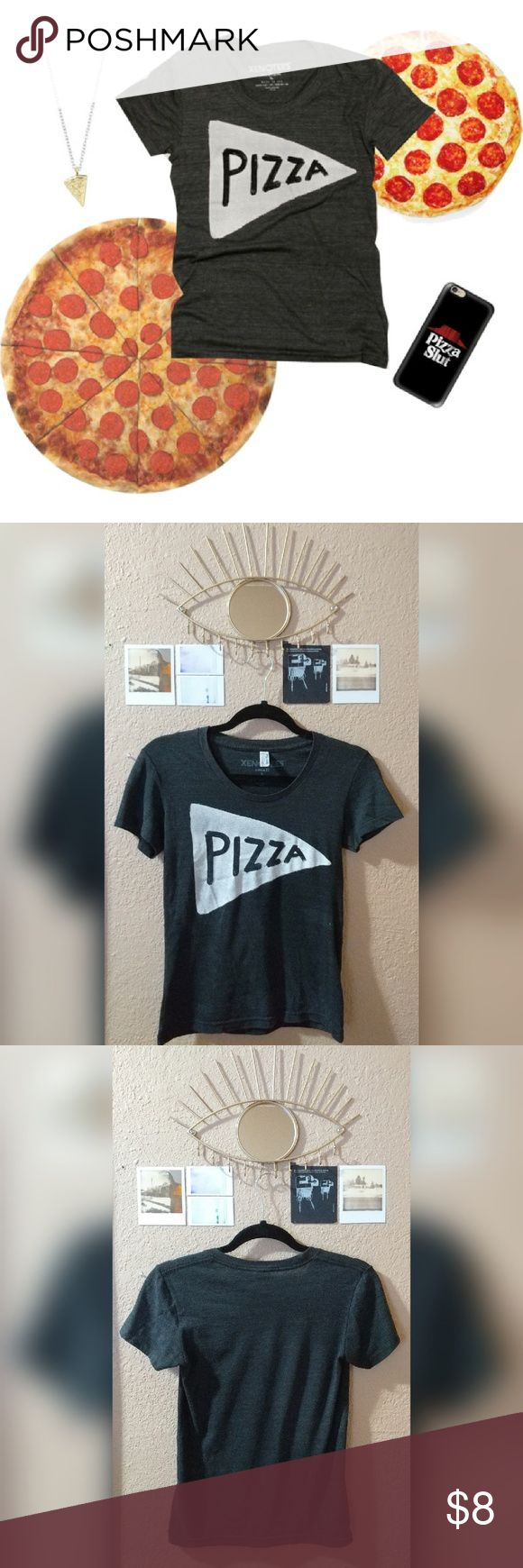 "Etsy Charcoal Gray ""Pizza"" Tee by Xenotees, small Dark grey ""Pizza"" tee bought off of Etsy by seller Xenotees. Design was hand painted and then screened unto this incredibly soft American Apparel t-shirt. Worn a few times, like new with no damage. American Apparel Tops Tees - Short Sleeve"