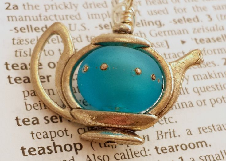 Teapot Pendant Necklace in Etched Turquoise Glass - Lampwork glass teapot pendant on silver plated trace chain or as a charm - pinned by pin4etsy.com
