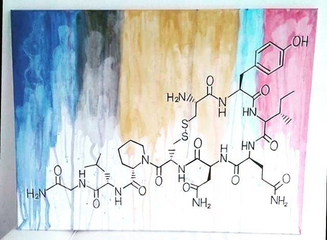 You know what time it is!! Its #moleculemonday! Thats the day of the week where we show photos of your molecules chemicals reaction anything remotely related to molecules.Send us a DM with your favorite molecule or a picture with molecules/chemicals and tell us a little about it and get featured!  This weeks image was sent by @joliephilia and shows the #oxytocin #molecule #painting she made - its #lovely thank you for sharing!  #chemie #chemistry #science #staynerdy  #love #hug #freehugs