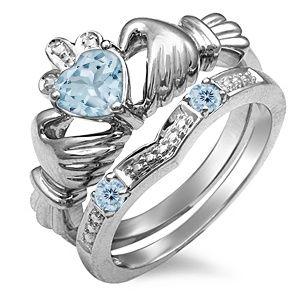 Birthstone Claddagh Bridal Set (3-5 Stones) | Bridal Sets | Wedding | Zales