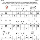 DIVISION FACTS WITH FUNCTION RULES * Are your students learning their division facts? Could they use some great extra practice? OVER 100 DIVISION FACTS TO SOLVE on 4 FULL WORKSHEETS! TABLES 2-12 ARE COVERED! Your students will use both division AND multiplication to solve these facts. FULL BONUS PAGE of SQUARING and SQUARE ROOTS! Sure to make your students THINK! OVER 100 FACTS IN ALL - Decorated for fun. Enjoy!