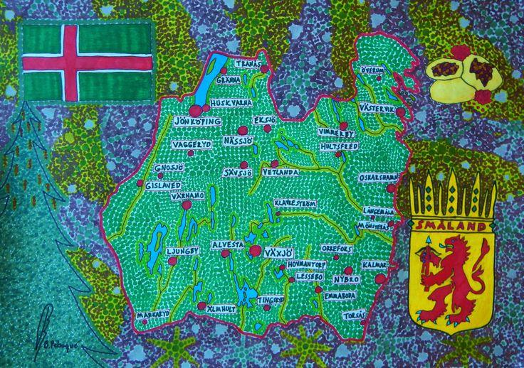 Småland map, south of Sweden.