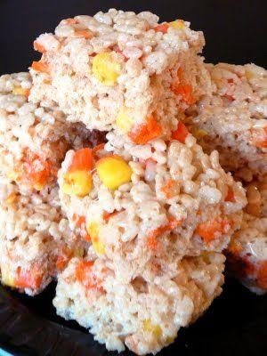 Candy Corn Rice Krispie treats..I'm definitely making these!