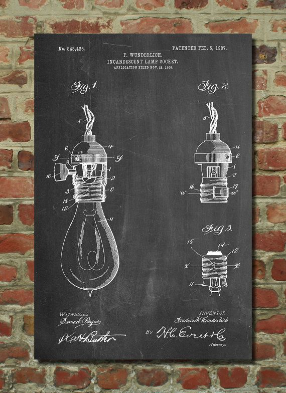 Incandescent Lamp Socket Patent Poster Hipster by PatentPrints