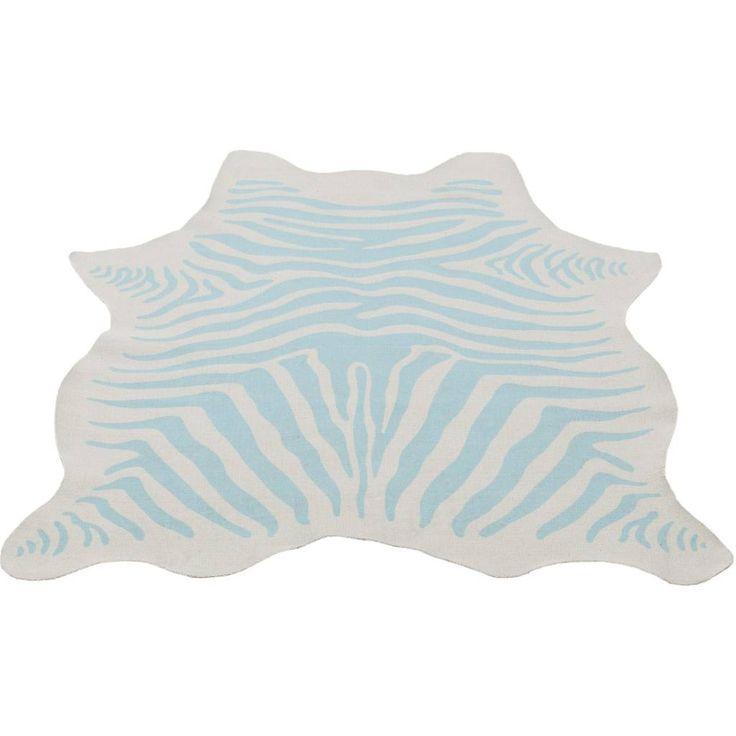 Kidsdepot Zebra vloerkleed mint/blauw - Ik Ben Zo Mooi