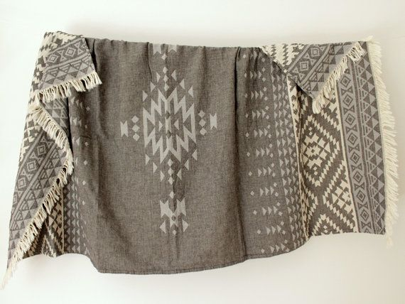 Southwestern Beach Towel Throw Blanket Grey by onTheRainbow