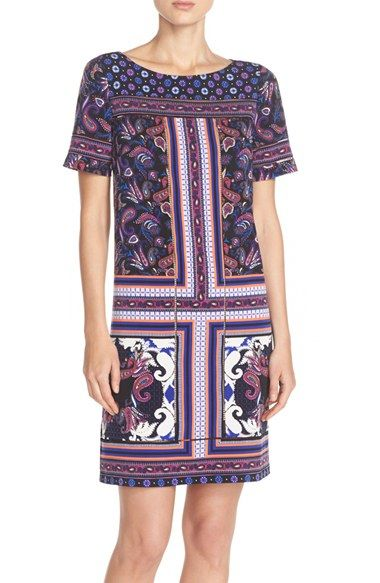 Adrianna Papell Print Jersey Shift Dress available at #Nordstrom