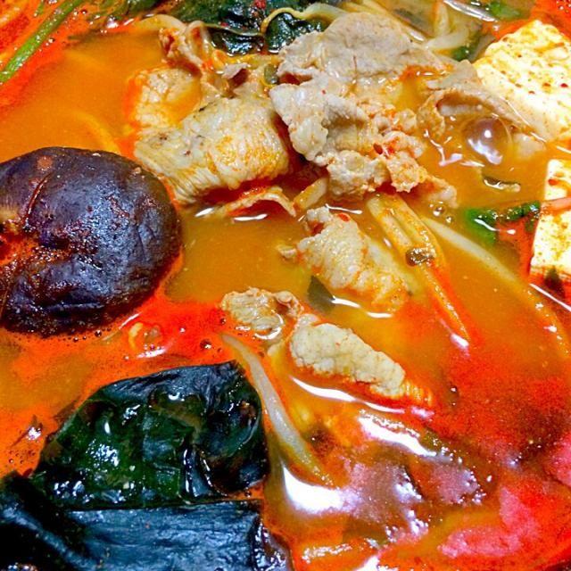 もやし、ほうれん草、ワカメ、椎茸、木綿豆腐、豚バラ  帰りがけ業務ストアでキムチの素を買って…また、鍋です - 64件のもぐもぐ - キムチ鍋 by furyu