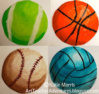 Adventures of an Art Teacher: bulletin board. Sports spheres using the elements of art- value and form.