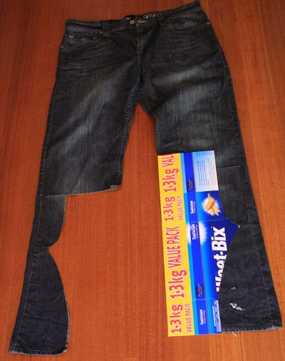 Big jeans to little. I'm so taken with the Weetabix packet pattern...