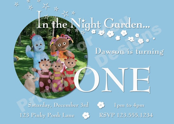 In the Night Garden Custom Digital YOU by 4UPrintableDesigns – In the Night Garden Birthday Invitations