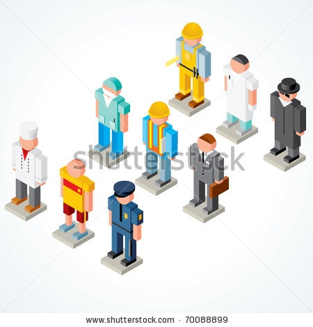 Vector Download » People Occupations vector icons - set of Isometric puppets of chef, athlete, policeman, surgeon, builder, businessman, engineer, scientist and spy - » Free Vector Graphics free download and share your vector
