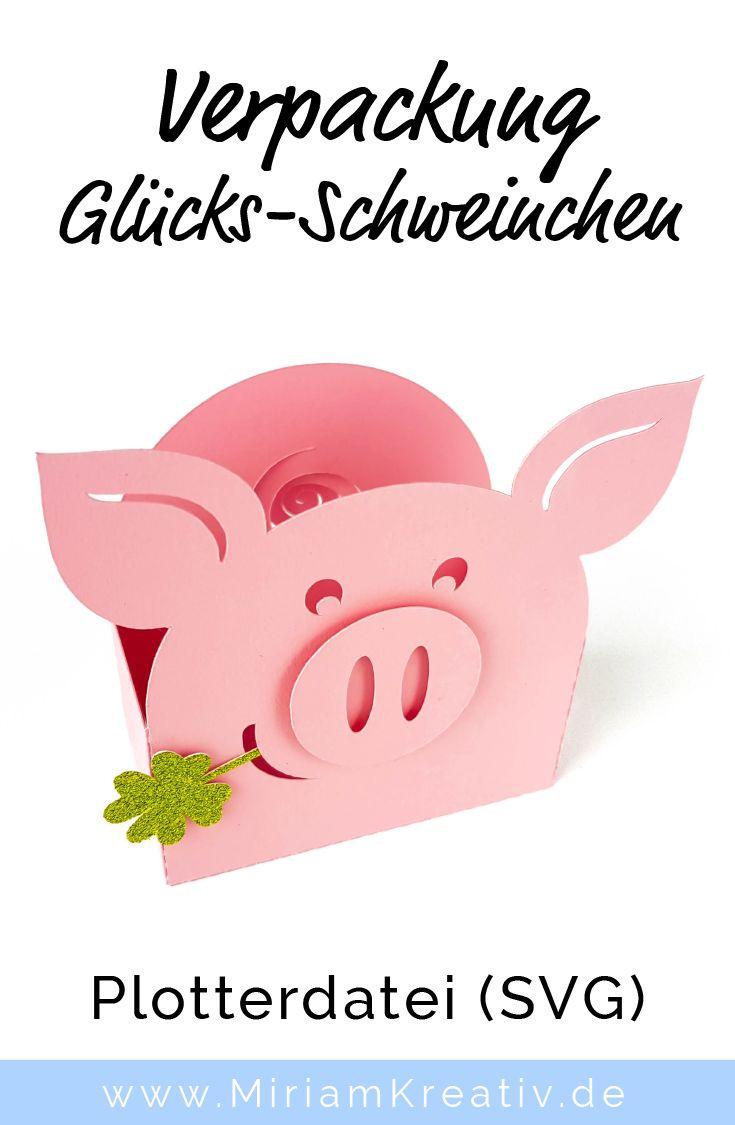 Verpackung Glücks-Schweinchen zu Silvester, Neuja…