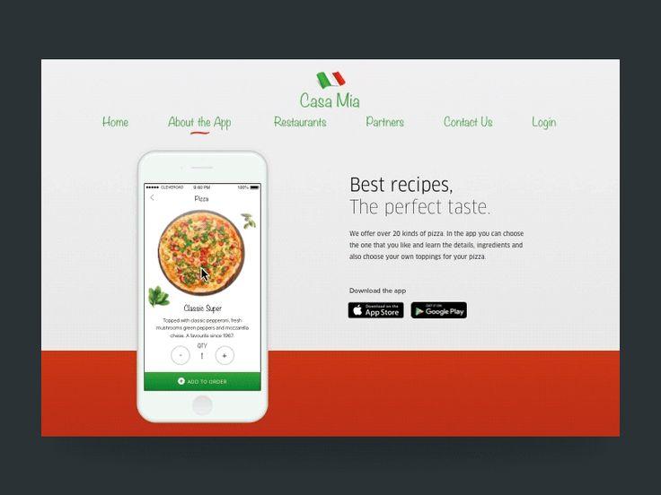 Concept de site Web pour un restaurant italien. L'écran de l'application iOS est synchronisé avec le scroll de l'utilisateur. Il est également possible d'interagir directement avec l'interface de l'appli.