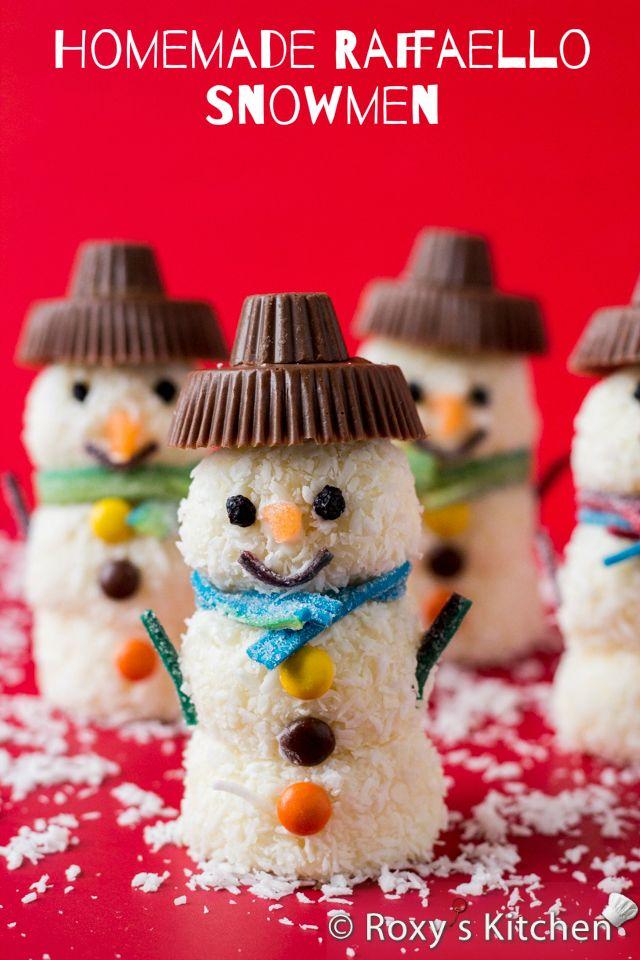 Homemade Raffaello Snowmen | Roxy's Kitchen