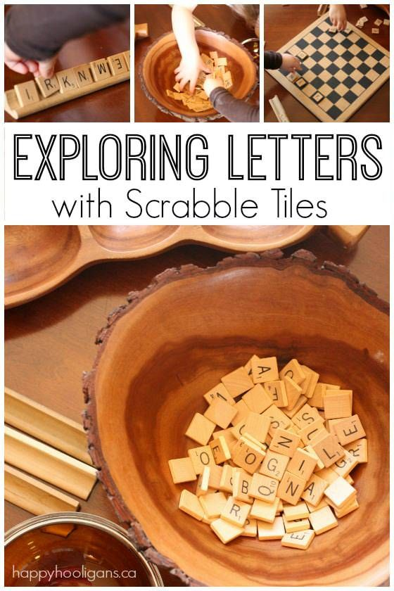 Scrabble tiles for learning about letters - toddler and preschooler activity - Happy Hooligans