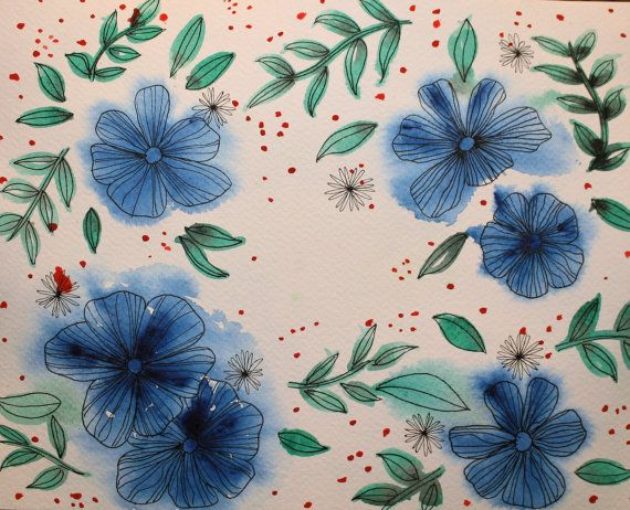 Hand-painted 8 by 10. Watercolor and ink on watercolor paper. Blue flower, foliage and red spots. Original 2016 painting.