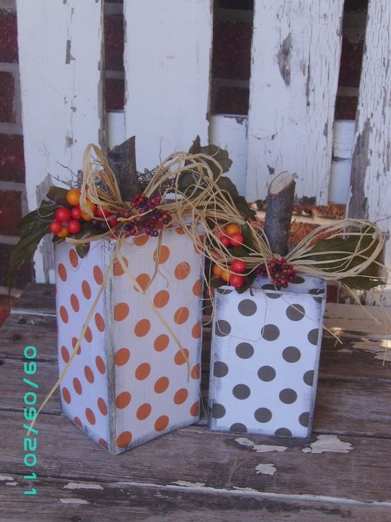 Polka Dot Pumpkins - great for fall decorations that aren't specific to Halloween.