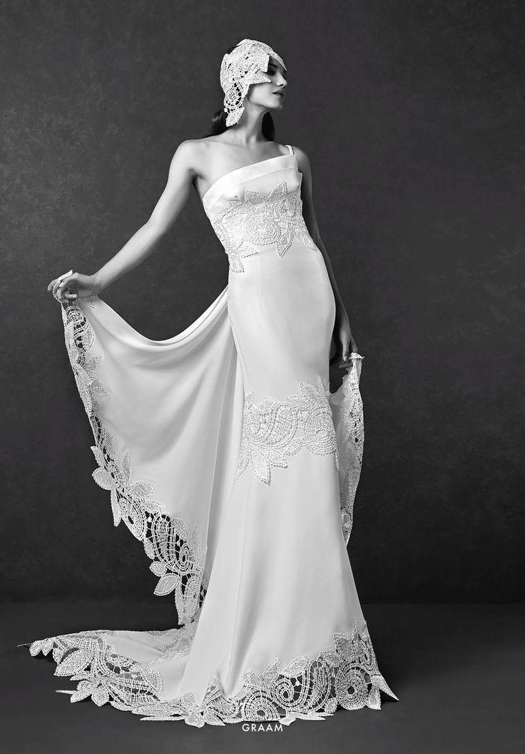 Collezione Signature 2015 - Elisabetta Polignano: Abito da sposa monospalla con decori macramé in stile anni 20  #wedding #weddingdress #weddinggown #abitodasposa