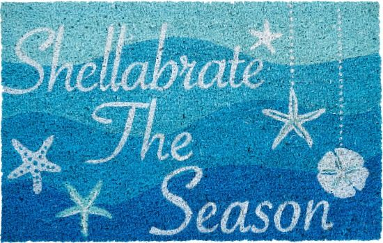 Currently on Sale for $10! Blue Beach Theme Christmas Mat... featured on Beach Bliss Designs: http://www.beachblissdesigns.com/2017/11/beach-christmas-door-mat.html