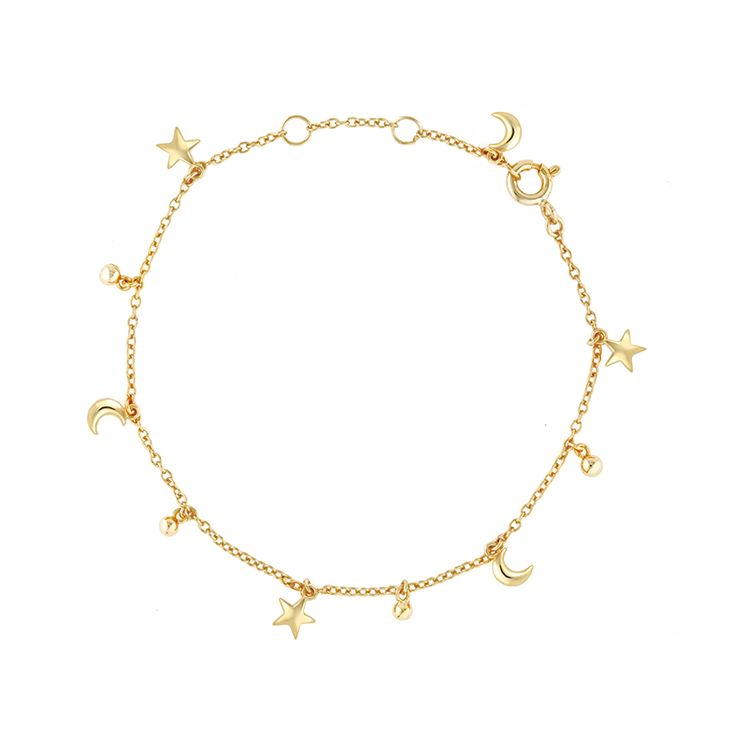 Circlet of gold stars and moons create cosmic magic on wrists with the Celestial Bracelet - Affordable fine luxury - Let tiny stars and moons dance on your wrist in this playful whimsical design. CLICK TO SHOP STAR MOON BRACELET NOW.