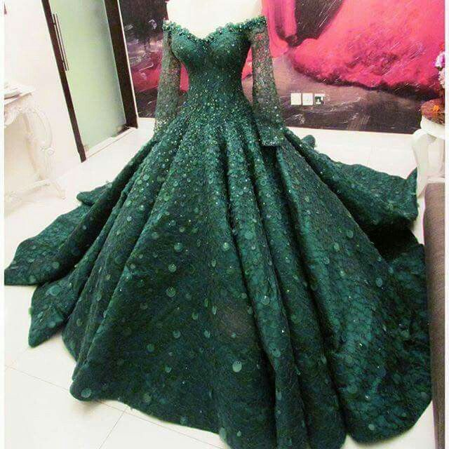 Emerald Green gown by Ezra Couture