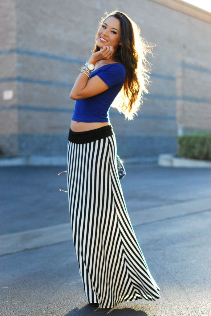 blue top black and white maxi skirt from azita66