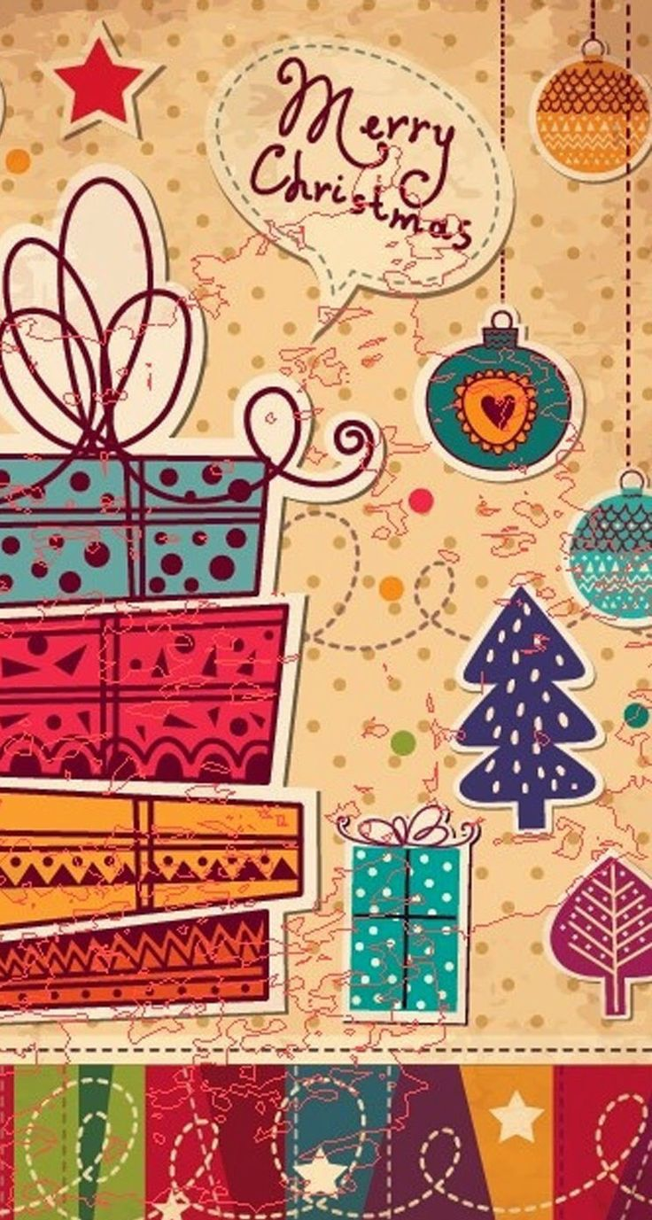 Tap image for more Christmas Wallpapers! Christmas card vector - iPhone wallpapers @mobile9