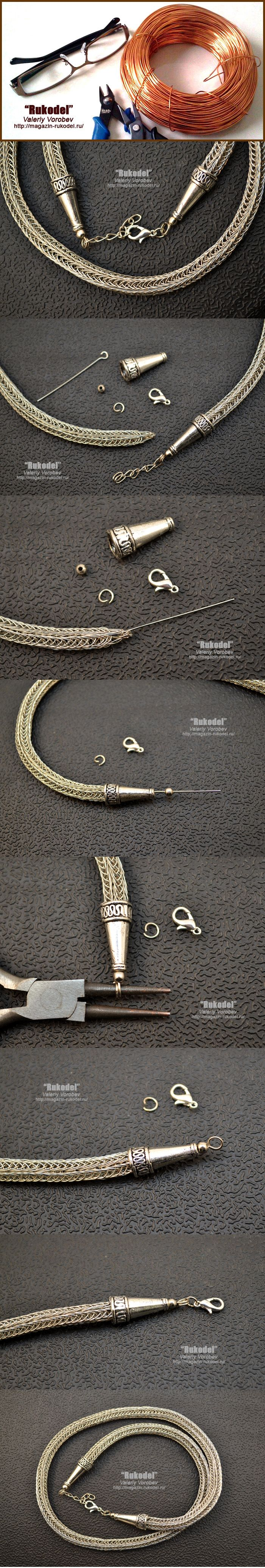 Цепь из проволоки Викинг - Viking Knit. Концевики.   Рукодел