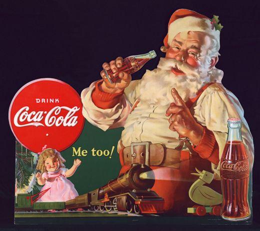 1954 - La prima azienda che sfrutta l'immagine di Babbo Natale a fini commerciali è la White Rock Beverages, produttrice d'acqua minerale, i cui spot risalgono al '16-'26. Nel 1930 Coca Cola fa del vecchietto barbuto il primo testimonial della celeberrima bevanda. Leggenda vuole che, prima dell'incontro con il Brand, il manto di Babbo Natale fosse verde. Coca Cola è quindi responsabile del vestito rosso? Sembra di no, ma i fan restano della loro idea.