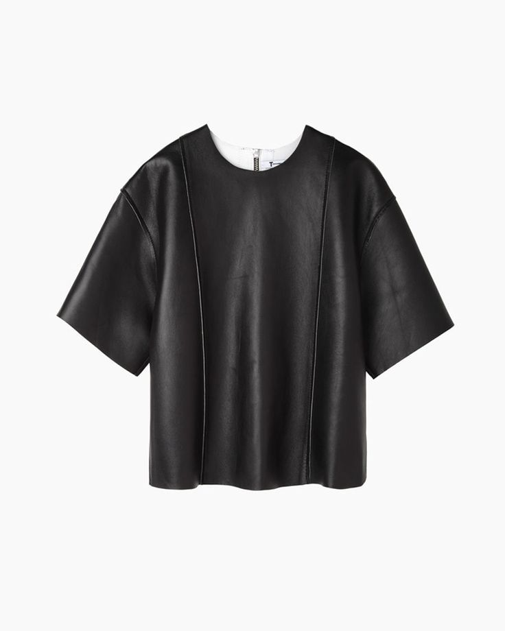 T BY ALEXANDER WANG | Cropped Leather Tee | Shop @ La Garçonne