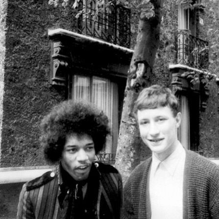With fan Paul Bogaert during a break from the afternoon rehearsals 11 May 1967, Issy-les-Moulineaux, Paris