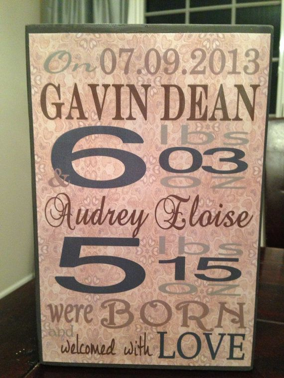 Wood Block Baby Subway Art, Custom Wooden Baby Announcement - Choose Colors - New Baby, Nursery, Shabby Chic on Etsy, $40.00