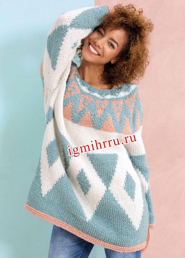 Жаккардовый пуловер-оверсайз с круглой кокеткой. Вязание спицами