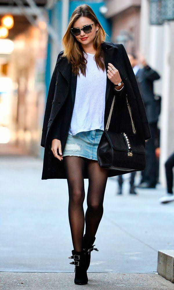 Miranda Keer mostra como usar saia jeans no frio em street style