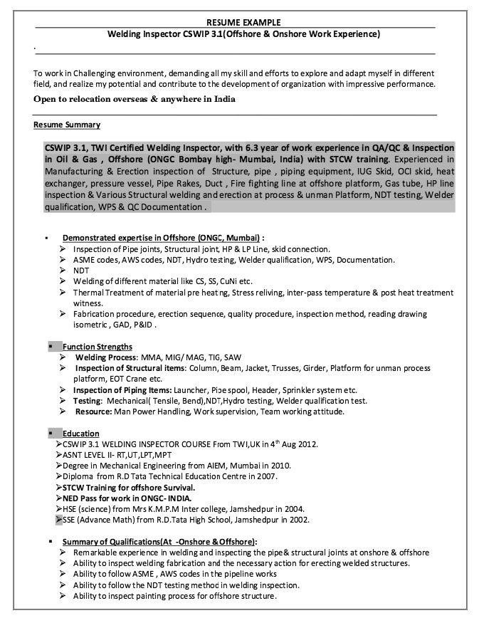 Welding Inspector Resume Resumesdesign Welding Inspector Resume Sample Resume Templates