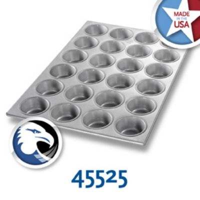 With more than 110 years, Chicago Metallic continues to provide quality products to the commercial, Industrial, Foodservice, and Supermarket industries nationwide. It is Chicago Metallic's commitment to quality that their legacy continues today. With that quality in mind Chicago Metallic brings to your commercial kitchen the (24) 3.8 oz. aluminized steel muffin pan. Featuring a wired rim the Chicago Metallic (24) 3.8 oz. aluminized steel cupcake pan is geared for easy and stable lifting.