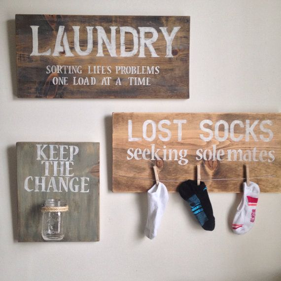 Add a cute touch to your laundry room with these unique signs. One is a Keep the Change jar plaque Another is a Seeking Sole Mates sign and the last