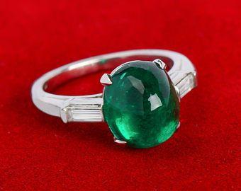 Colombian Emerald Vintage Ring Diamonds Platinum Lavish Exceptional | Colombian Emerald Ring Cabochon Baguettes || 17909