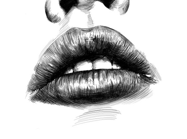 Close Up Digital Drawing Of Mouth Lips Detail Made With Procreate