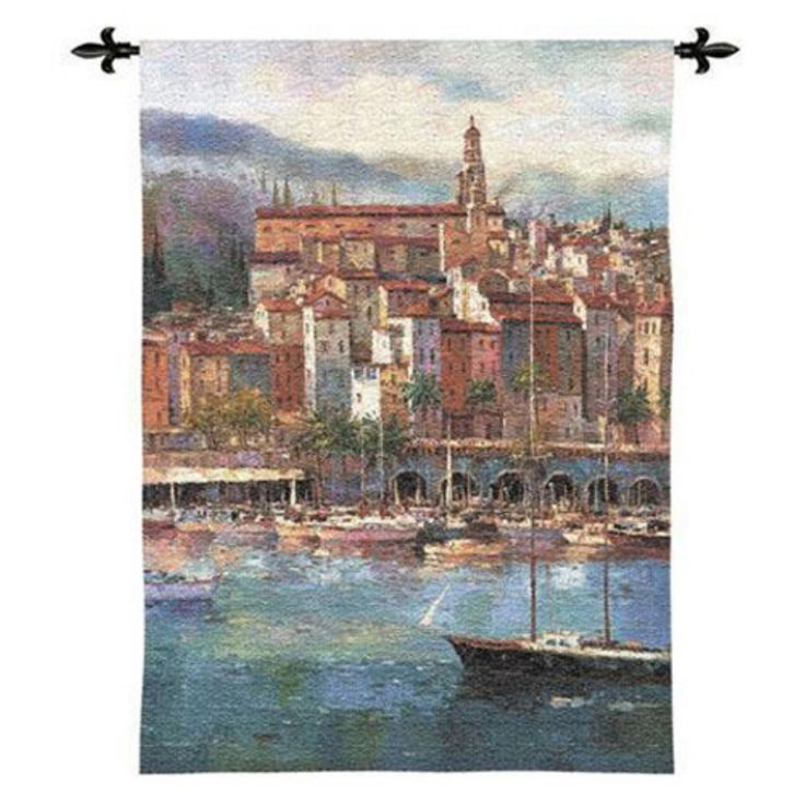 Fine Art Tapestries Mediterranean Harbor Wall Tapestry - 2606-WH