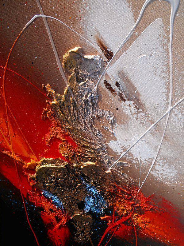 """Peinture """"TOLIMAN"""" Tableau abstrait contemporain toile acrylique en relief noir…"""