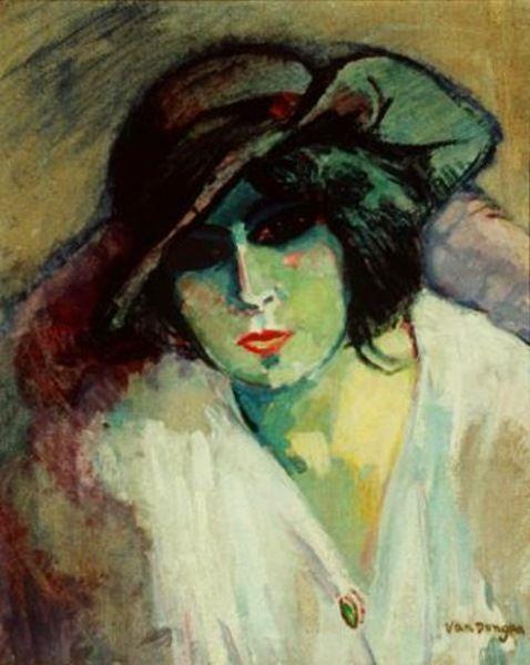 """Kees Van Dongen Dutch 1877 - 1968 """"Woman in Green"""""""