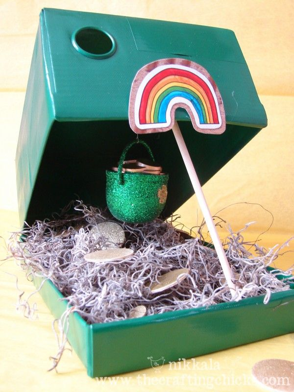Every St. Patrick's Eve, the kiddos make a Leprechaun Trap.  We use a piece of my jewelry as 'bait.'  In the morning, the trap has been tripped and there inside the box is my jewelry and chocolate coins or gold nugget bubble gum.  It's a fun tradition!