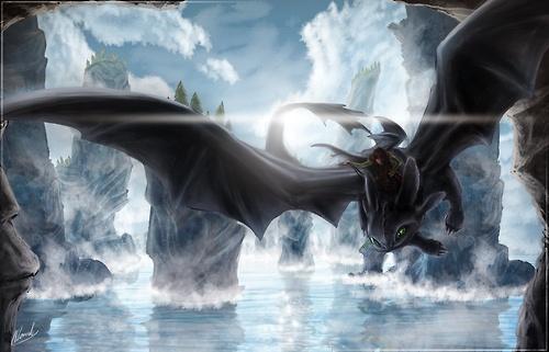 Night Fury - Train Your Dragon Speed Art by IceDragonhawk
