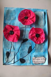 Remembrance day craft - Poppies.  love this!