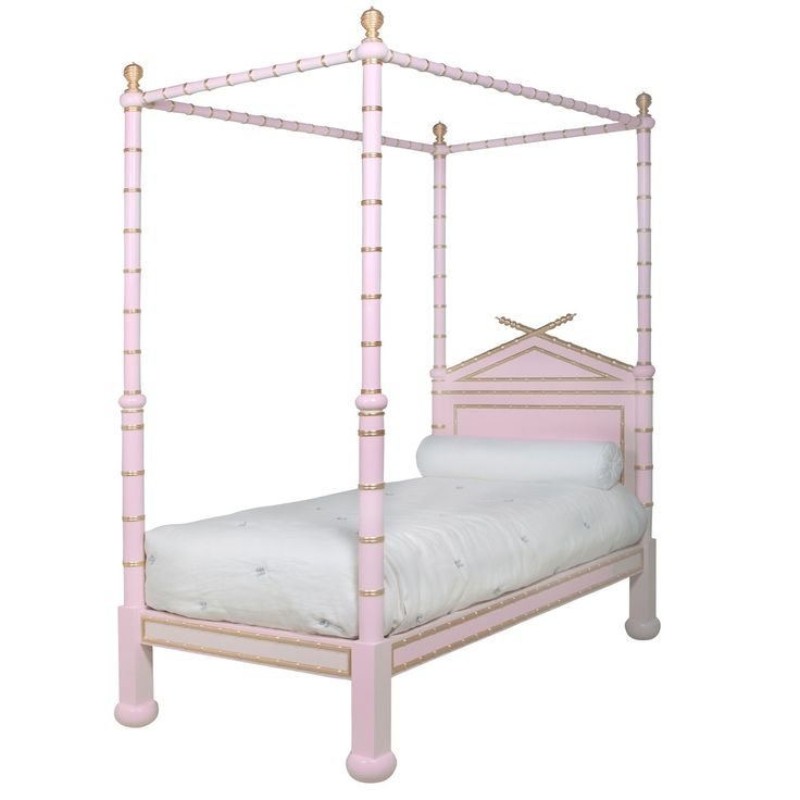 Pink and Gold Bamboo Four Poster Twin Size Bed